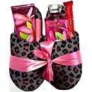 Bath & Body Works Slipper Gift Sets - Gift Baskets - Fun House Slippers (L), Body Cream, Shower Gel, Bath Poof, Lip Balm - Lots of Scents to Choose From (Plumeria)