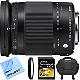 Sigma 18-300mm F3.5-6.3 DC Macro OS HSM Lens Contemporary for Canon EF Cameras Bundle includes 18-300mm Lens, Close-up Lens, 64GB SDXC Memory Card, Bag and Beach Camera Microfiber Cloth