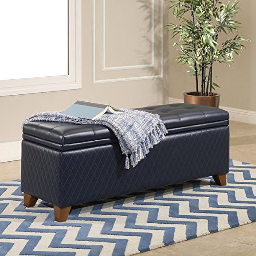 Abbyson Matlock Navy Bonded Leather/Birch Wood/Foam Quilted Storage Ottoman (Macy's Patio Furniture Clearance)
