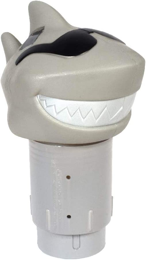 GAME 12902-BB Solar Light-Up Shark Pool 3-inch Tablet Chlorine Dispenser LED Light Sensor, New Version