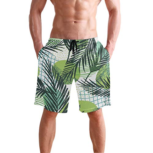 (Tropical Leaf Plaid Print Men's Swim Trunks Quick Dry Beach Board Shorts with Drawstring Pocket)