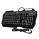 VicTec Water-resistant Wired Mechanical Gaming Keyboard, Multi-color LED Backlit with Blue Switches & Key Cap Puller - Black