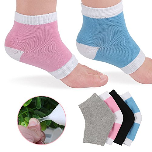 4 Pairs Moisturizing Silicone Gel Heel Socks for Dry Hard Cracked Skin Open Toe Comfy Recovery Socks Day Night Care