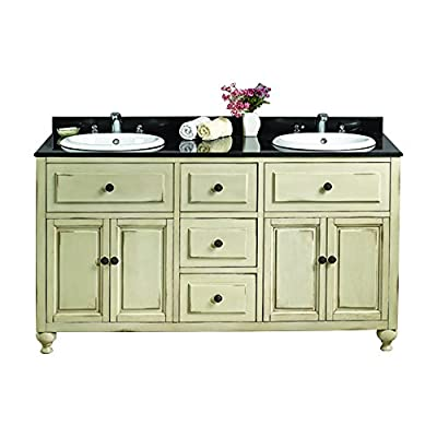 Ove Decors Antique White Double Vanity with Granite Top in Black with White Basin, 60-Inch by 21-Inch - Black granite top with bullnose edge and removable backsplash included All wood construction with white stain Comes fully assembled for simple free standing installation - bathroom-vanities, bathroom-fixtures-hardware, bathroom - 51rvp7TGq7L. SS400  -
