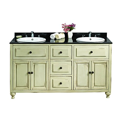 Antique White Double Vanity with Granite Top in Black with White Basin, 60-Inch by 21-Inch