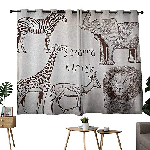 Brown Zebra Cream (NUOMANAN Curtains for Living Room Safari,Collection of Tropic African Asian Wild Savannah Animals Lion Giraffe Zebra Graphic, Cream Brown,for Bedroom,Nursery,Living Room 42