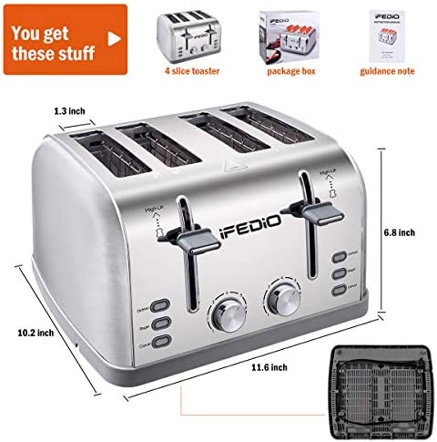 Toaster 4 Slice, Extra Wide Slot Toasters Bagel/Defrost/Cancel Function with 4 Piece, 7 Shade Settings of Bread Toaster for Kitchen, Removable Crumb Tray 1500W (Sliver)