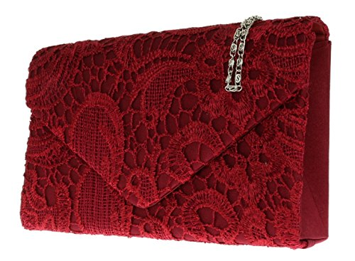 Shoulder Coral Womens Gift HandBags Girly Chain Wedding Clutch Lace Satin Evening Bag Elegant Burgundy w4Xx7