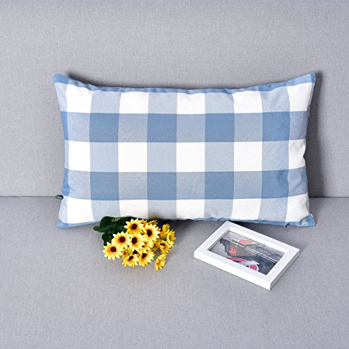 Checks Toss Pillow (Natus Weaver Blue & White Buffalo Check Plaid Decorative Toss Pillow Case Cushion Cover for Chair Bench,12 inches x 20 inches)