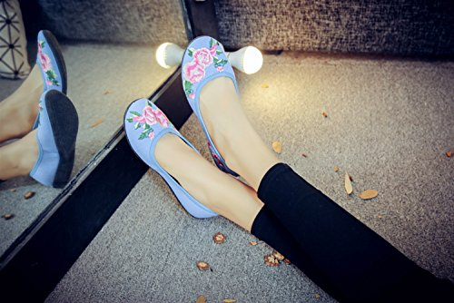 Femme Loafer Ballerines Insun Bleu Fait Broderie Fleur Main Espadrilles 0xdx1wqUP