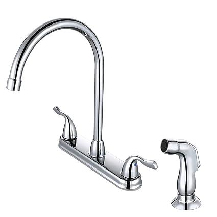 Desfau Kitchen Sink Faucet With Sprayer High Arc Swivel Spout 2