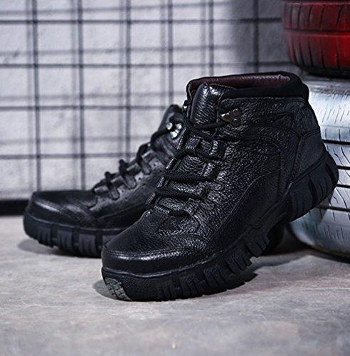 Yiiquan Moda Piattaforma Bassa Stivaletti di Stile Pelle Strada Martin Nero Stivali 2 Scarpe Uomo Sintetica SvSaq4