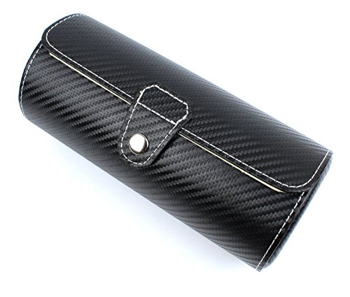 Leather Watch Travel Case Roll For 3 Watches -Faux Carbon Fiber Pattern (Watch And Roll Case)