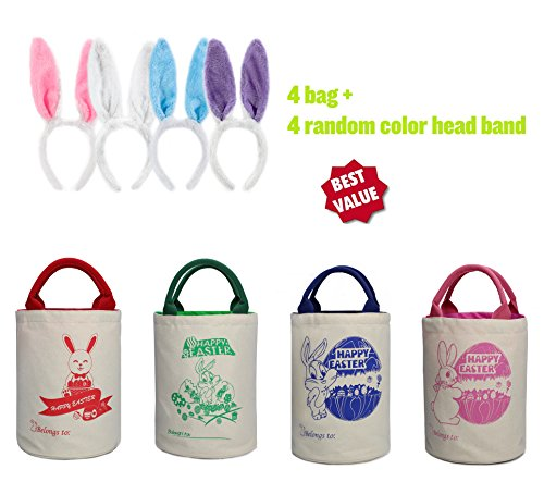 Cute Bunny Cylinder Easter Bag Dual Layer Bunny Canvas Bag With Bunny Easter Egg Hunt Design Bag Carrying Eggs/Gifts for Easter Party,Bunny Fans Cute Tote Cylinder-4 Bags+ 4 Head Bands