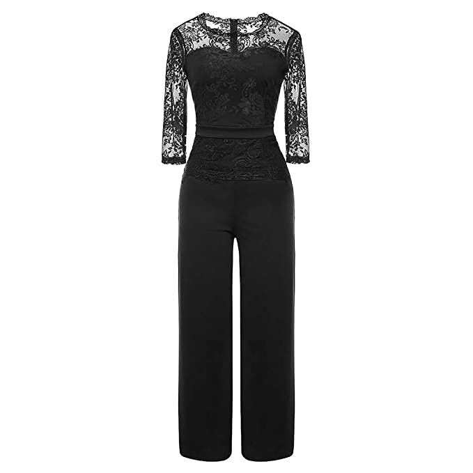 e125150a3d9 Women 3 4 Sleeve Jumpsuit Lace Bodysuit Solid Casual Long Pants Warp  Evening Party Playsuit