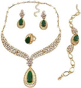 Four-piece suit extravagant Rhinestone jewelry Necklace Bracelet Earring Ring suit