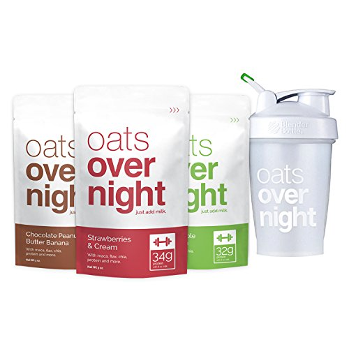 Oats Overnight with BlenderBottle (3oz per pack) High Protein/Low Sugar (24 Pack Variety with BlenderBottle)