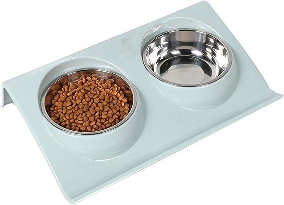 HEEPDD Alimentador de Agua con Alimentos para Perros de Gatos Gatito Cachorro Azul
