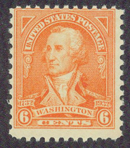 1932 George Washington Bicentennial 6-cent single Mint, never-hinged. Catalogue Value $4.50