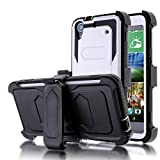 HTC 626 Case,Kmall Heavy Duty Impact Resistant Shock-Absorption Dual Layer Full Body Protective Skin Stand Cover Shell Swivel Belt Clip Holster Kickstand For For HTC Desire 626/626s/626W White
