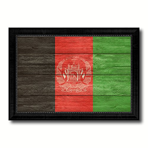 Afghanistan Country Flag Texture Canvas Print, Wood Grain Black Picture Frame Gift Ideas Home Decor Wall Art (Afghanistan Country Flag)