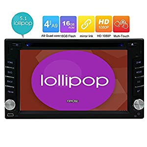 Eincar 6.2-inch Android 5.1 Double Din HD Touch Screen Head Unit Quad-core Car DVD Player Car Stereo GPS Navigation Autoradio Bluetooth Steering Wheel Control SD/USB FM/AM/RDS Aux Wifi 3G Mirror link
