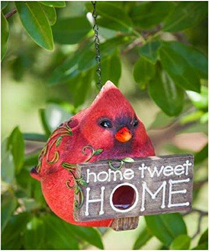 Hanging Bird Houses by CEDAR HOME Outdoor Garden Patio Decorative Pet Cottage Resin Birdhouses, Red