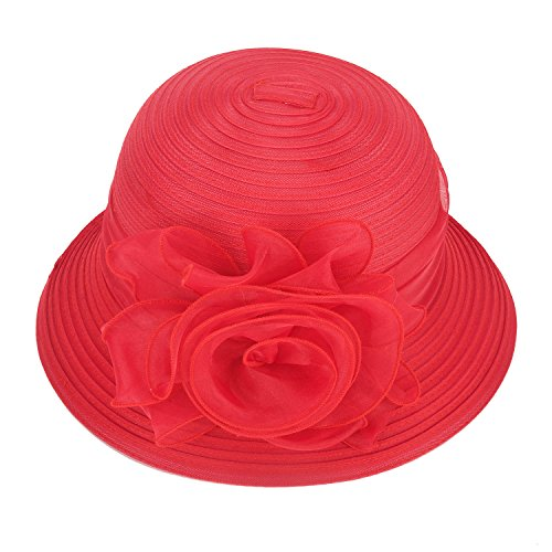 (Pure Color 1920s Womens Summer Organza Bowler Sun Hat Derby Tea Party A267 (Red))