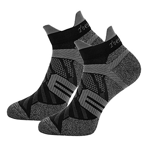 Toes&Feet Women's 2-Pack Black Anti-Sweat Deodorant Thin Ankle Compression Running Socks,S