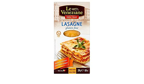 Le Veneziane Sin Gluten Láminas De Lasaña 250g (Paquete de 6 ...