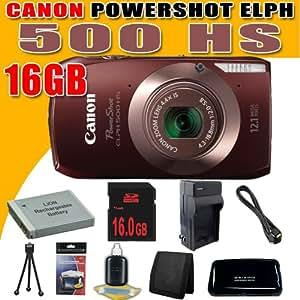 Canon PowerShot ELPH 500 HS 12 MP CMOS Digital Camera w/Full 1080p HD Video (Brown) NB6L Battery 16GB DavisMAX HDMI Bundle
