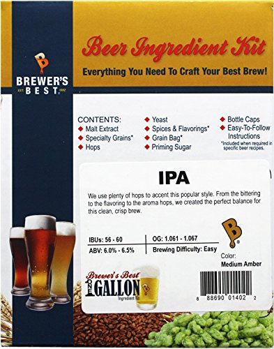 Brewer's Best One Gallon Home Brew Beer Ingredient Kit (IPA (India Pale Ale)) (Ipa Beer Ingredients compare prices)