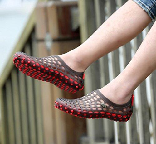 YOUJIA Respirable Ligero Zuecos Playa Sandalias Verano Zapatos de jardín Al aire libre Unisexo Negro Rojo