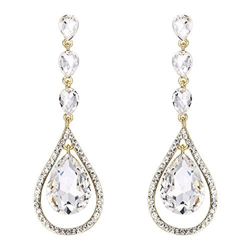 EVER FAITH Austrian Crystal Bridal Hollow-out Teardrop Pierced Dangle Earrings Clear Gold-Tone
