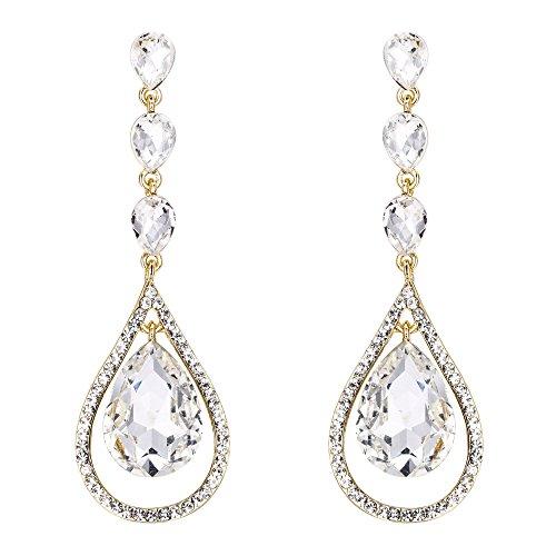 EVER FAITH Austrian Crystal Bridal Hollow-out Teardrop Pierced Dangle Earrings Clear Gold-Tone - Gold Tone Pierced Earrings