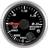 Speedhut GR20-BV01M Boost/Vac Gauge 750mmhg-0-2bar Metric (With Warning LED), 2-1/16''