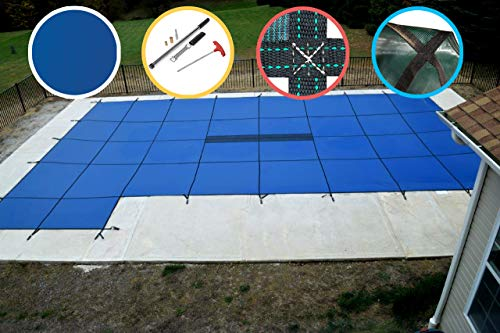 Water Warden SCSB2040LS Pool Safety Cover for 20 by 40-Feet Pool, Blue with Left Step