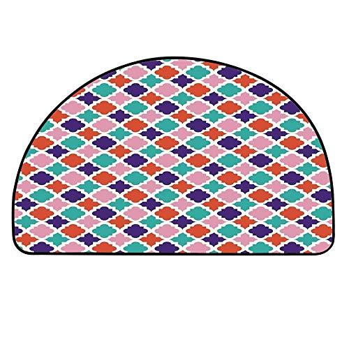 YOLIYANA Ikat Decor Semicircle Rug,Colorful Mosaic Tiles Oriental Asian Islamic Ikat Indonesian Patterns Motifs Decorative Home Floor Mat,21.6