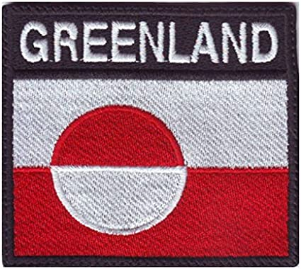 GREENLAND National Flag With Name Embroidered Iron On Sew On PatchBadge