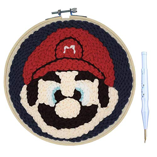 "Wool Queen Punch Needle Starter Kit | Cartoon Rug Hooking Beginner Kit, with an Adjustable Embroidery Pen and 8.0"" Bamboo Hoop-Mario"
