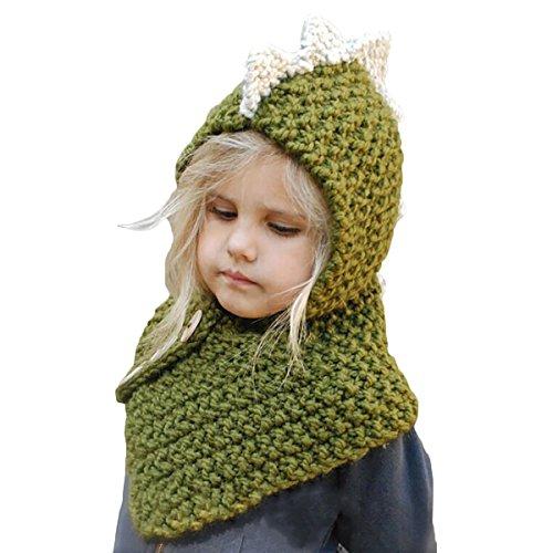 Infant Mural (Mural Art Baby Kids Winter Warm Knit Hat Cute Dinosaur Animal Design Headscarf Hoodie Hat Cap Neck Warmer (Green))