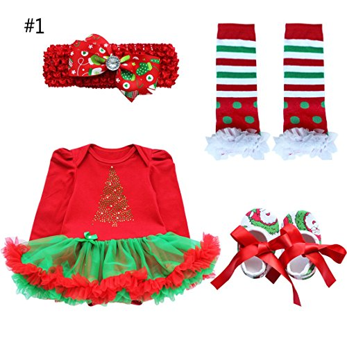MSemis Infant Baby Girls Christmas 4PCS Outfits Romper with Headband Leg Warmer Shoes Red Tree 0-3 Months