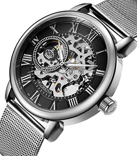 Sweetbless Wristwatch Men's Royal Classic Roman Index Hand-Wind Mechanical Watch (Black dial Silver Band) ()