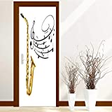 L-QN Static Cling Glass Film Saxophone and Music Notes on Privacy Window Film Decorative Window Film W32 x H80