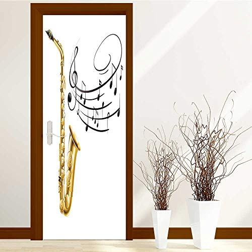 L-QN Static Cling Glass Film Saxophone and Music Notes on Privacy Window Film Decorative Window Film W32 x H80 by L-QN