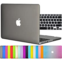 """Easygoby 2in1 Matte Frosted Silky-Smooth Soft-Touch Hard Shell Case Cover for Apple 13.3""""/ 13-inch MacBook Pro with Retina Display Model A1425 /A1502 (NO CD-ROM Drive) + Keyboard Cover - Gray"""