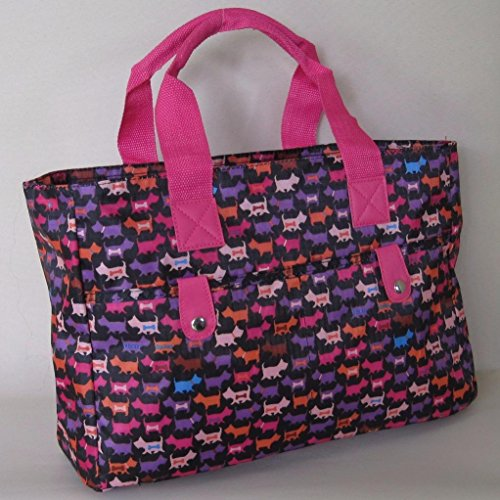 strong Scottie Beach Knitting Silver Black wipe and handbag Very Dog Bag cleanable Bag Floral xX5qUPg
