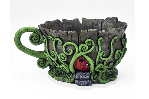 Georgetown Home and Garden Woodland Fiddleheads Fairy Garden Teacup Planter With Red Fairy Door ()