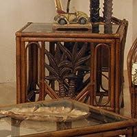 Cancun Palm Rattan & Wicker End Table & Glass
