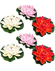 Amosfun 6Pcslotus Flower Silk Floating Flowers Aquarium Plants Lily Pads Artificial Lilies Pond for centerpieces- Simulation Floating Water Lily Creative Lotus Flower Pond Fish Tank Decor